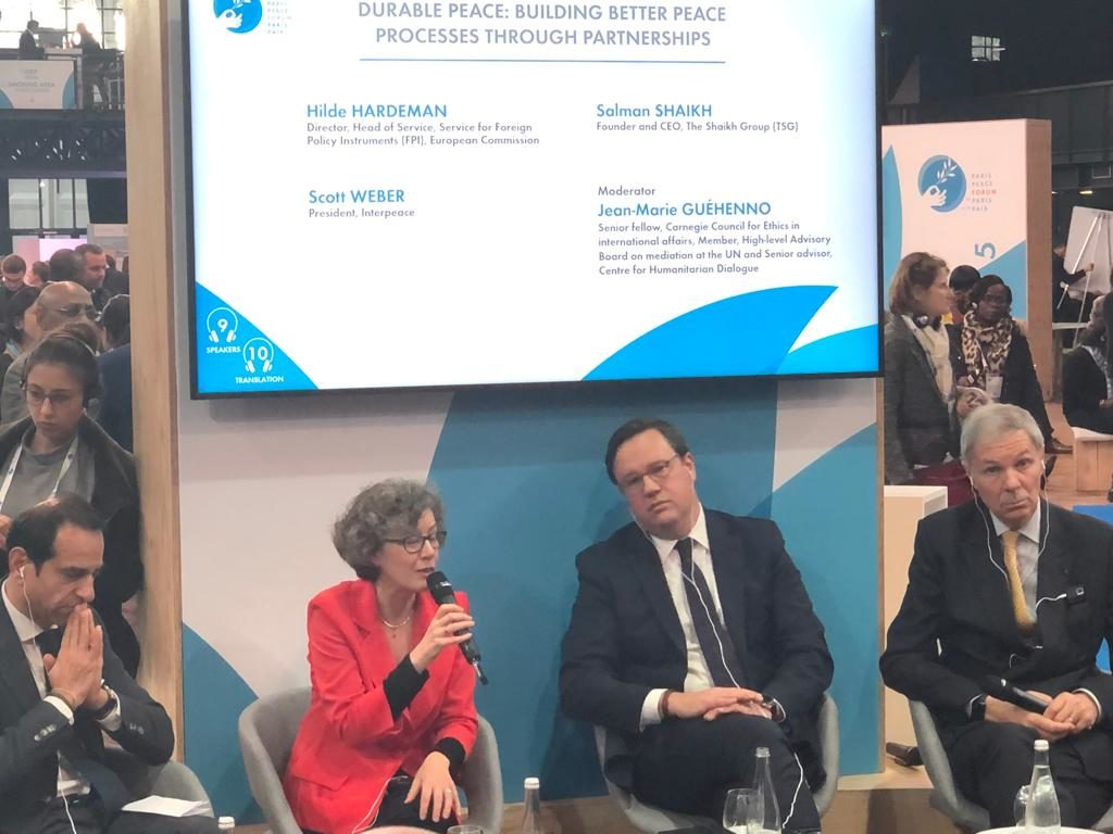 Hilde Hardeman, Head of the European Commission's Service for Foreign Policy Instruments (FPI), during a panel discussion on partnerships for peacebuilding